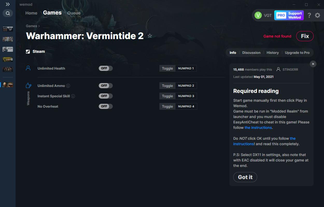 Warhammer: Vermintide 2: Trainer (+4) from 05/01/2021 [WeMod]