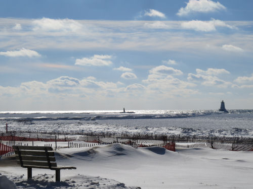 Ludington Michigan beach in winter
