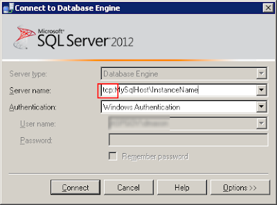 Connect to Database Engine