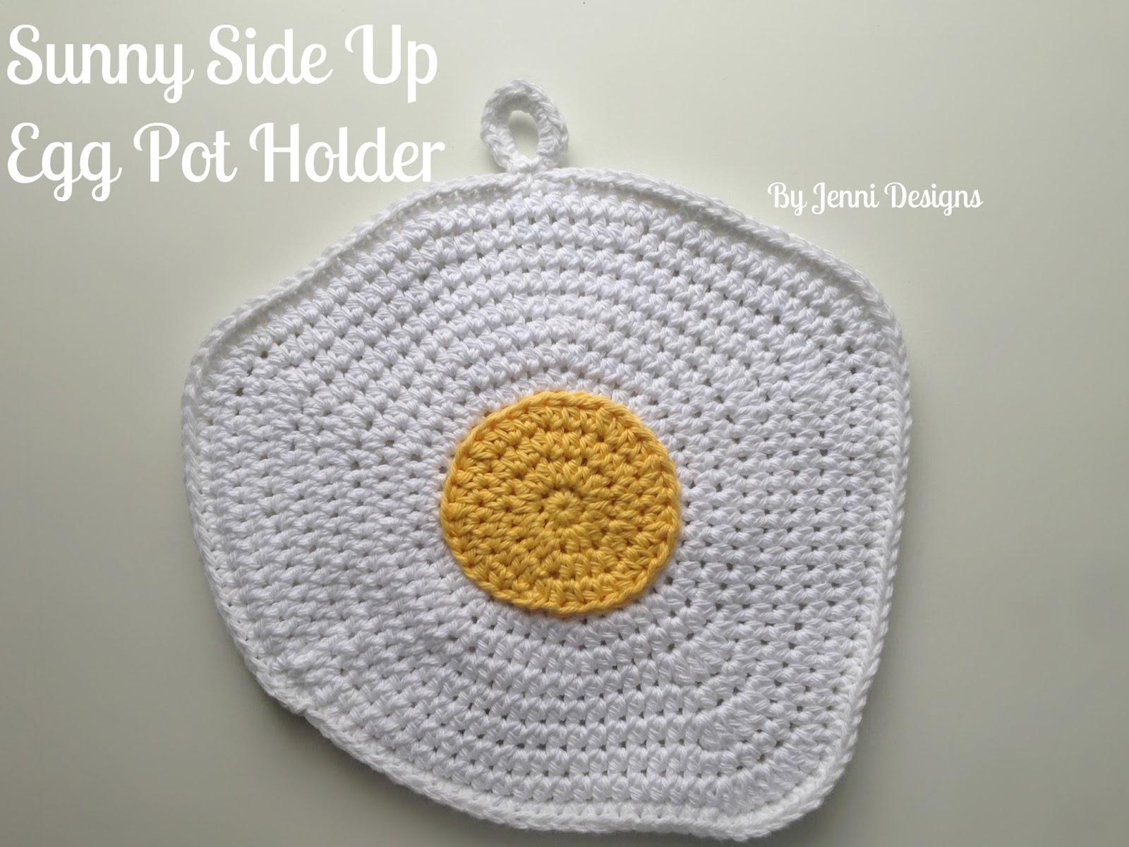 By Jenni Designs: Free Crochet Pattern: Sunny Side Up Egg Pot Holder