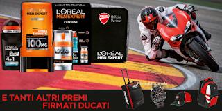 Logo Con L'Oreal Men Expert vinci Moto GP e gadget Ducati