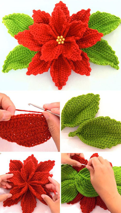 Crochet Poinsettia Flower - Tutorial
