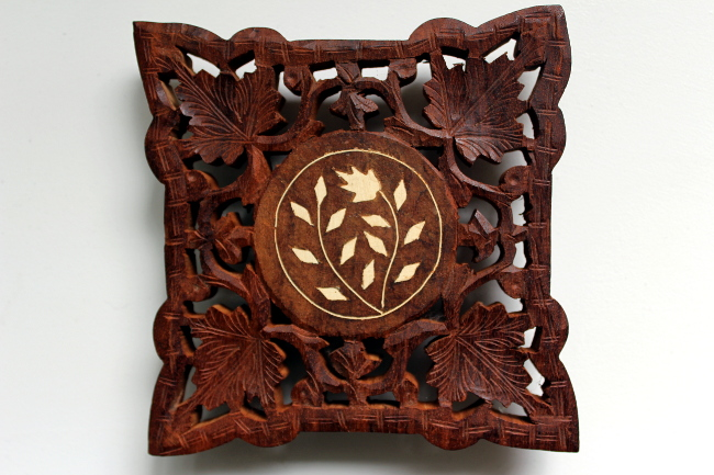 carved wood india trivet