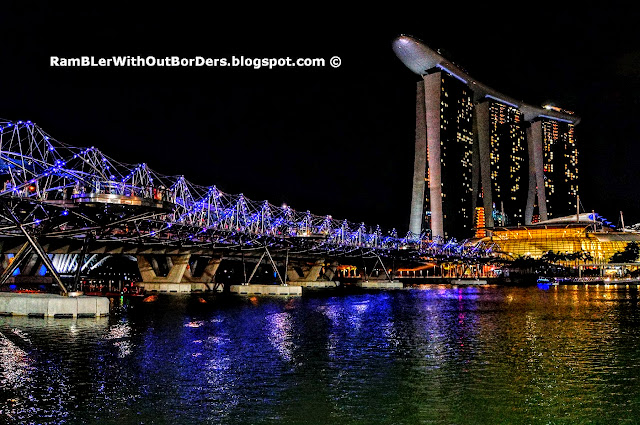 Helix Bridge, skyline, Marina Bay, Singapore