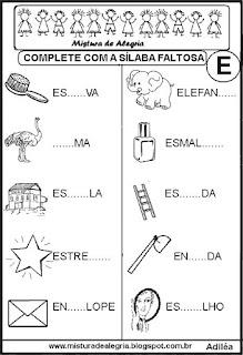 Alfabetização completar sílabas faltosas