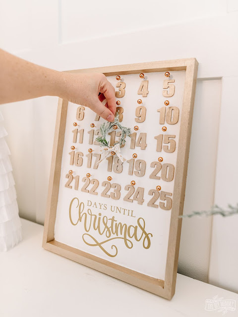 Christmas countdown calendar made from Dollar Store supplies.