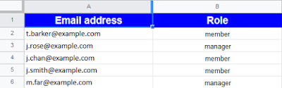 Rows of email address and role in spreadsheet