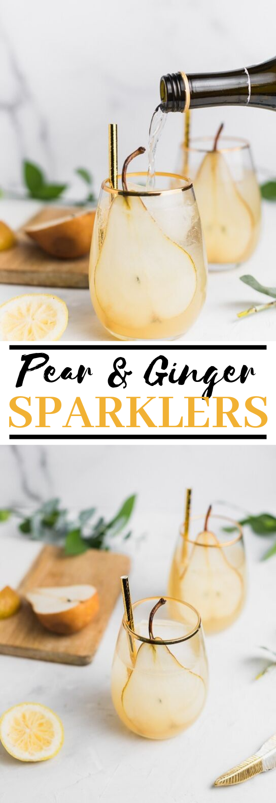 Pear and Ginger Sparklers #drinks #cocktails
