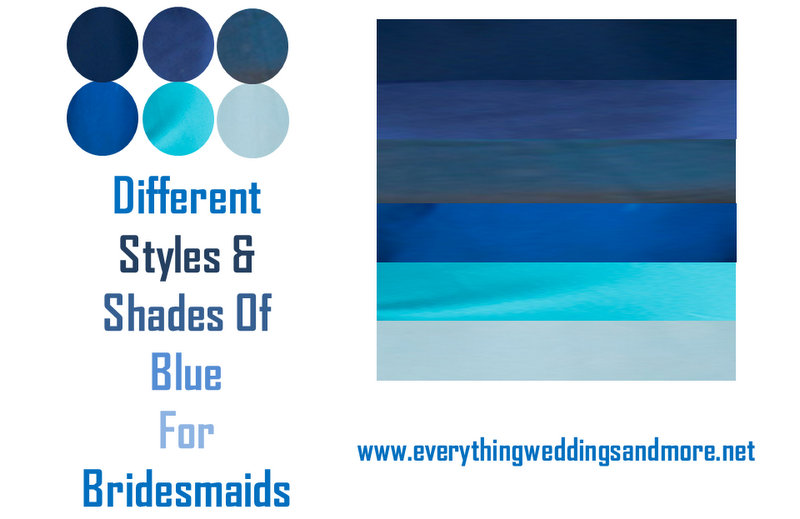 different styles and shades of blue for bridesmaids - knotsvilla