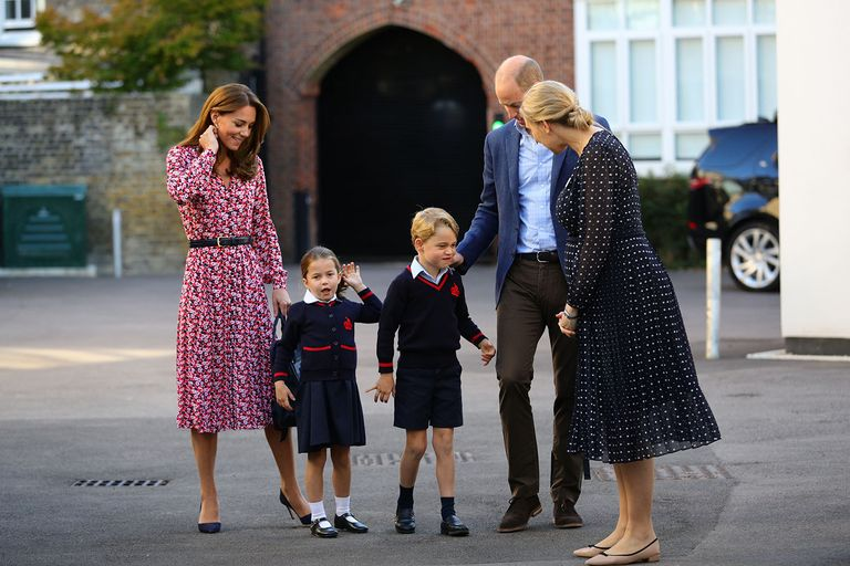 Kate Middleton Wears Chic Florals While Taking Prince George and Princess Charlotte to Their First Day of School