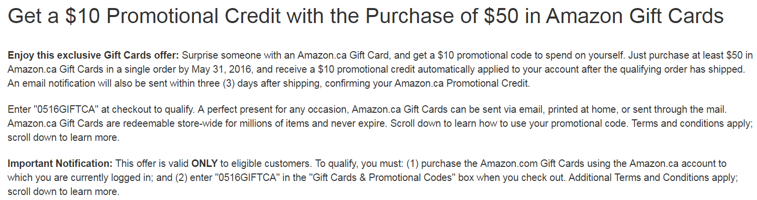 Canadian Rewards: Amazon.ca: $10 promo credit with $50 gift card ...
