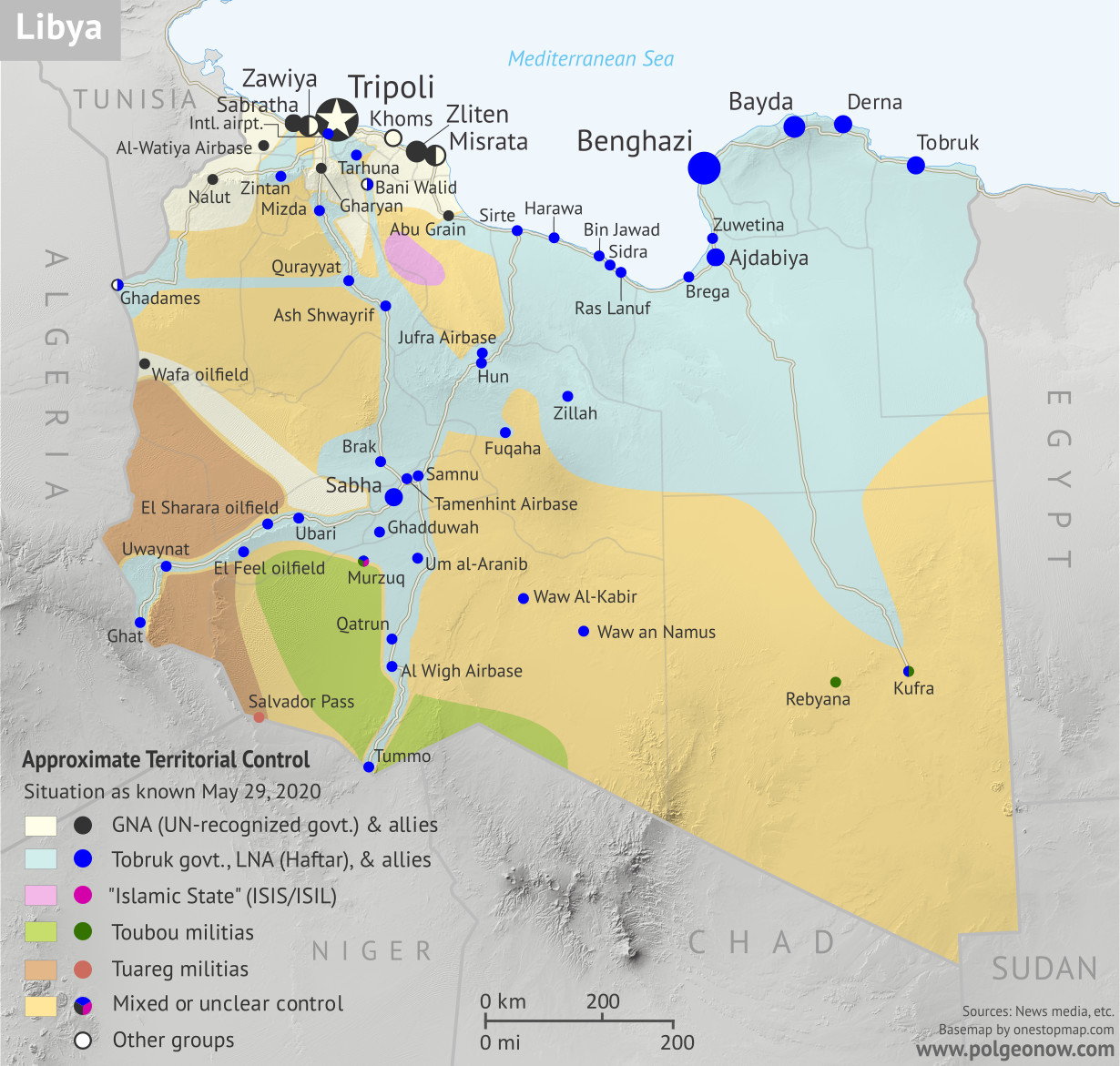 Libya: Who controls what? A concise, professional map of who controls Libya now (May 2020). Shows detailed territorial control in the Libyan Civil War as of May 29, 2020, including all major parties (Government of National Accord (GNA); Tobruk House of Representatives, General Haftar's Libyan National Army (LNA), and allies; Tuareg and Toubou (Tebu, Tubu) militias in the south; and the so-called Islamic State (ISIS/ISIL)). Includes terrain, major roads, and recent locations of interest including Al-Watiyah Airbase, Tarhuna, Mizda, and more. Colorblind accessible.