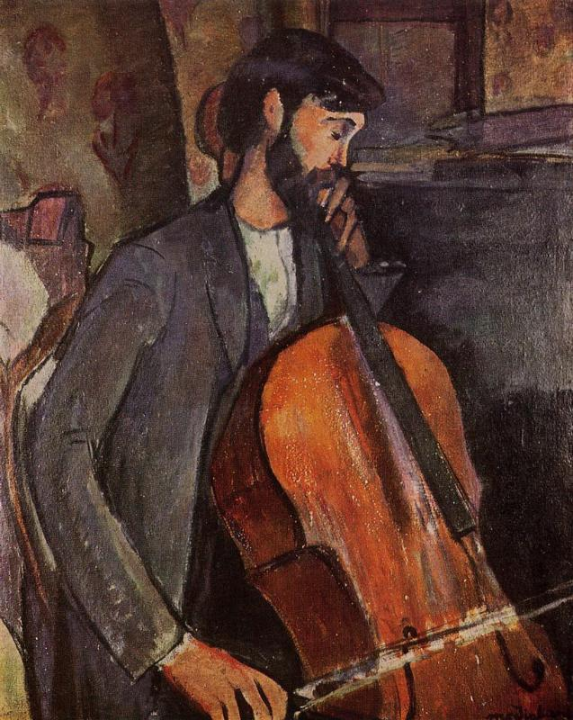 Amedeo Modigliani, painting, malerei, bild, poetische Art, stille, natur, cello, gefühle, musik, sommernacht