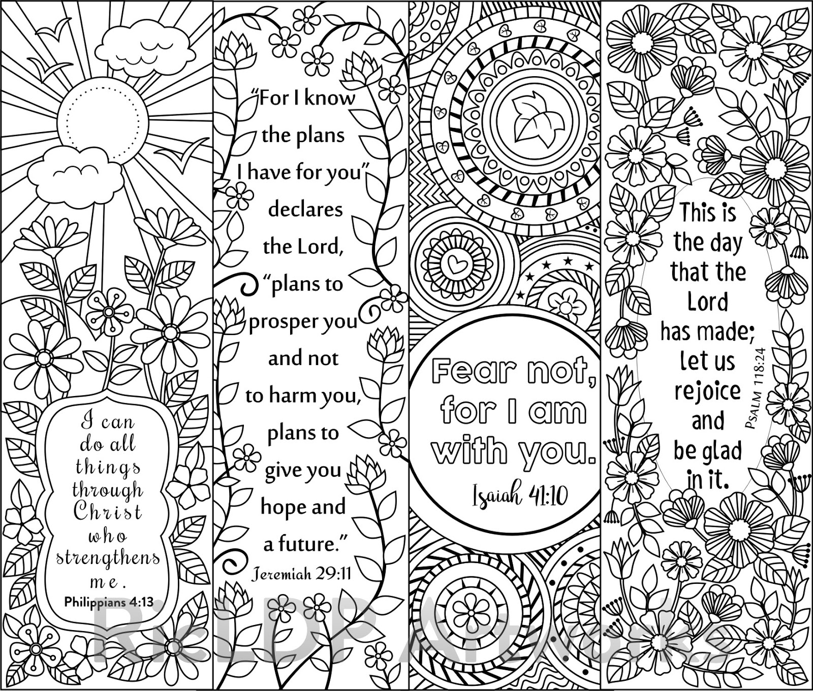 RicLDP Artworks: Eight Bible Verse Coloring Bookmarks