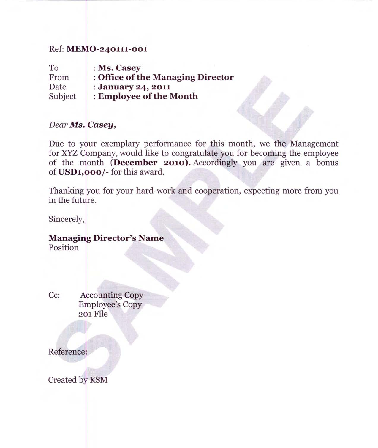 recognition letter sample Oylekalakaarico