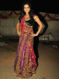 Sunny Leone in Indian Designer Saree at Bigg Boss House