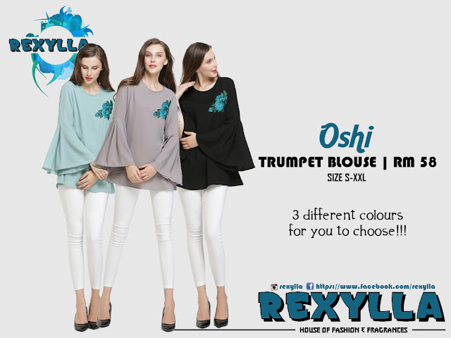 rexylla, trumpet blouse, oshi collection