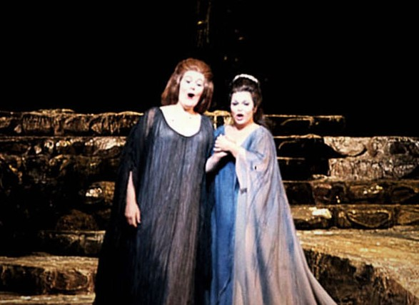 BELLES OF BEL CANTO: Soprano DAME JOAN SUTHERLAND as Norma and mezzo-soprano MARILYN HORNE as Adalgisa in Vincenzo Bellini's NORMA at the Metropolitan Opera in April 1970 [Photo by Louis Mélançon, © by The Metropolitan Opera]