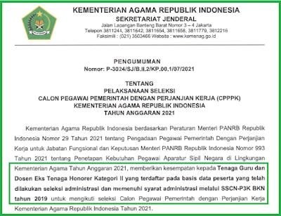 Tenaga Guru dan Dosen Eks Tenaga Honorer Kategori II.  Dan juga yang terdaftar pada basis data peserta yang telah dilakukan seleksi administrasi dan memenuhi syarat administrasi melalui SSCN-P3K BKN tahun 2019 untuk mengikuti seleksi Calon Pegawai Pemerintah dengan Perjanjian Kerja Kementerian Agama Republik Indonesia Tahun 2021