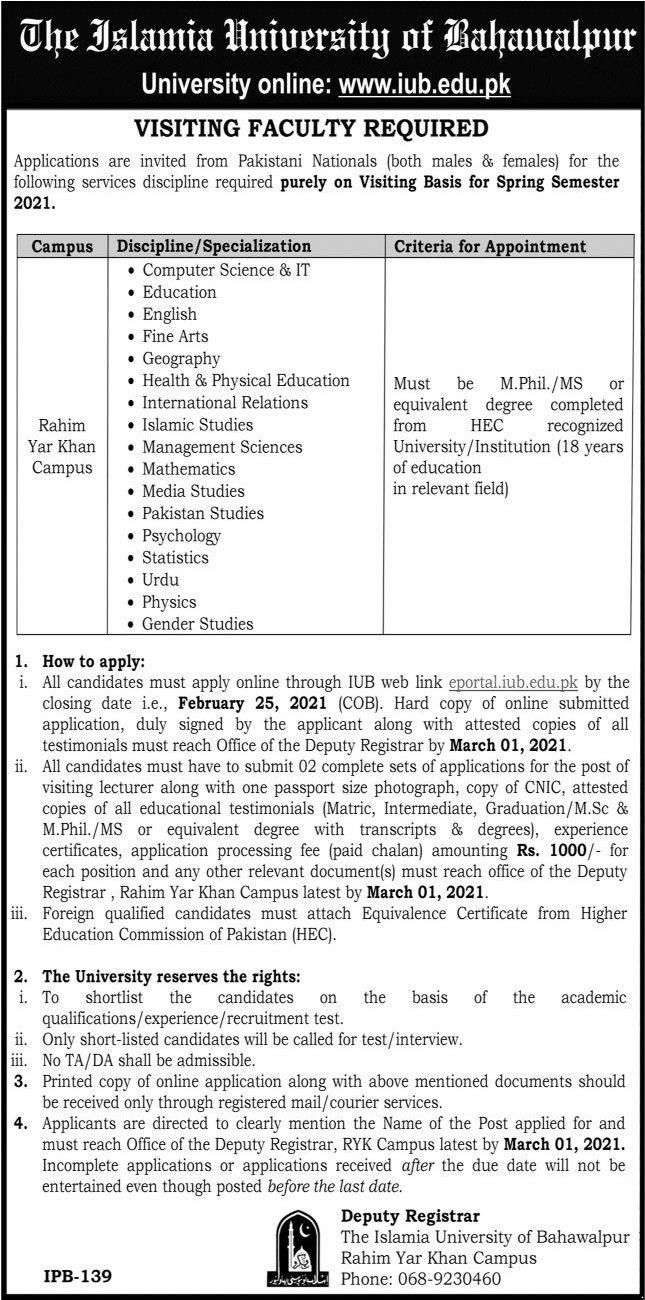 The Islamia University of Bahawalpur Visiting Faculty Jobs 2021 in Rahim Yar Khan Campus