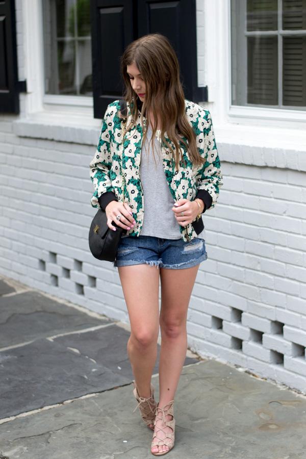 Floral Bomber Jacket by Charleston fashion blogger Kelsey of Chasing Cinderella