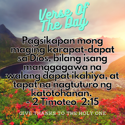 Bible Verse Of The Day Tagalog  September 23 2020  Give Thanks To The Holy One Photo