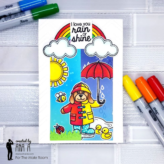 Sunny Studio Stamps: Rain or Shine Customer Card by Ana Anderson