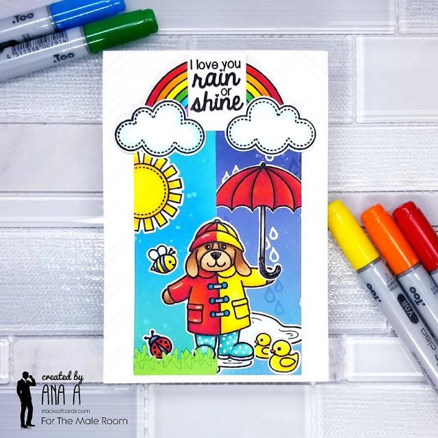 Sunny Studio Stamps: Rain or Shine Customer Card by Ana Anderson