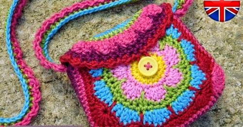 ENGLISH crochet pattern Flowery Purse!