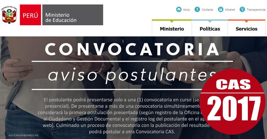 MINEDU: Convocatoria CAS Noviembre 2017 - Puestos de Trabajo en el Ministerio de Educación - www.minedu.gob.pe