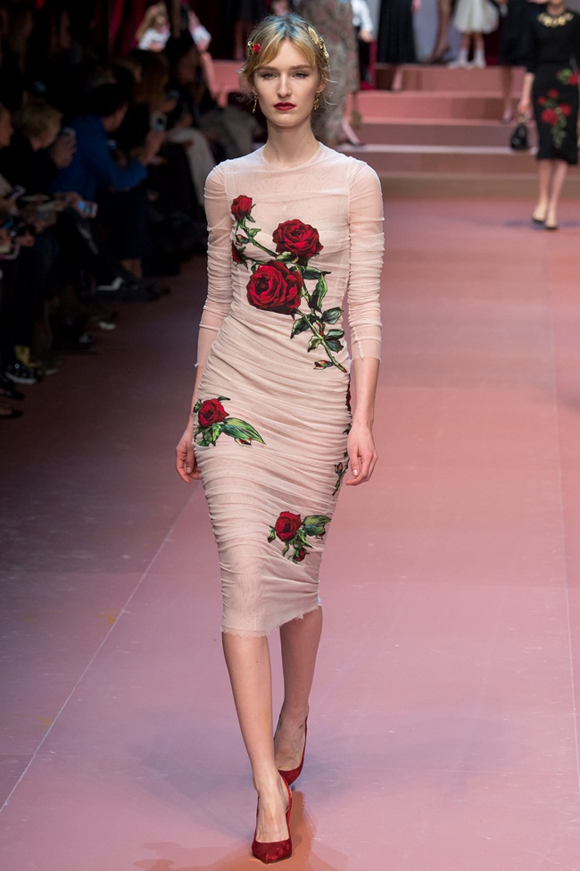 Dolce & Gabbana 2015 AW Nude Silk Tulle Dress With Applique Roses on Runway