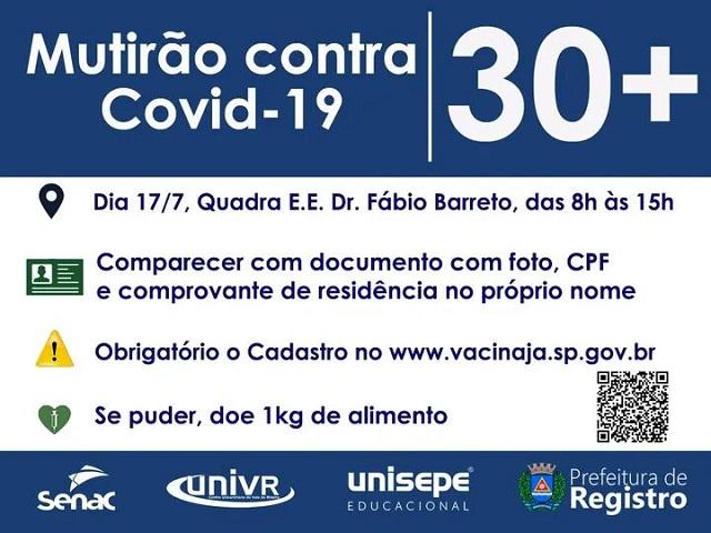 Mutirão contra o Covid-19 - Público de  30 anos em Registro-SP