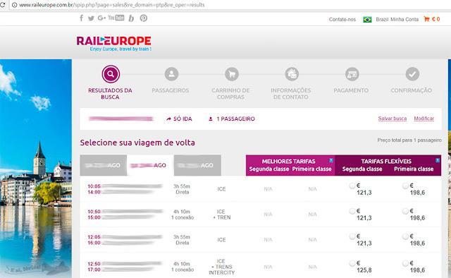 Print de tela de compra de passagem na Rail Europe