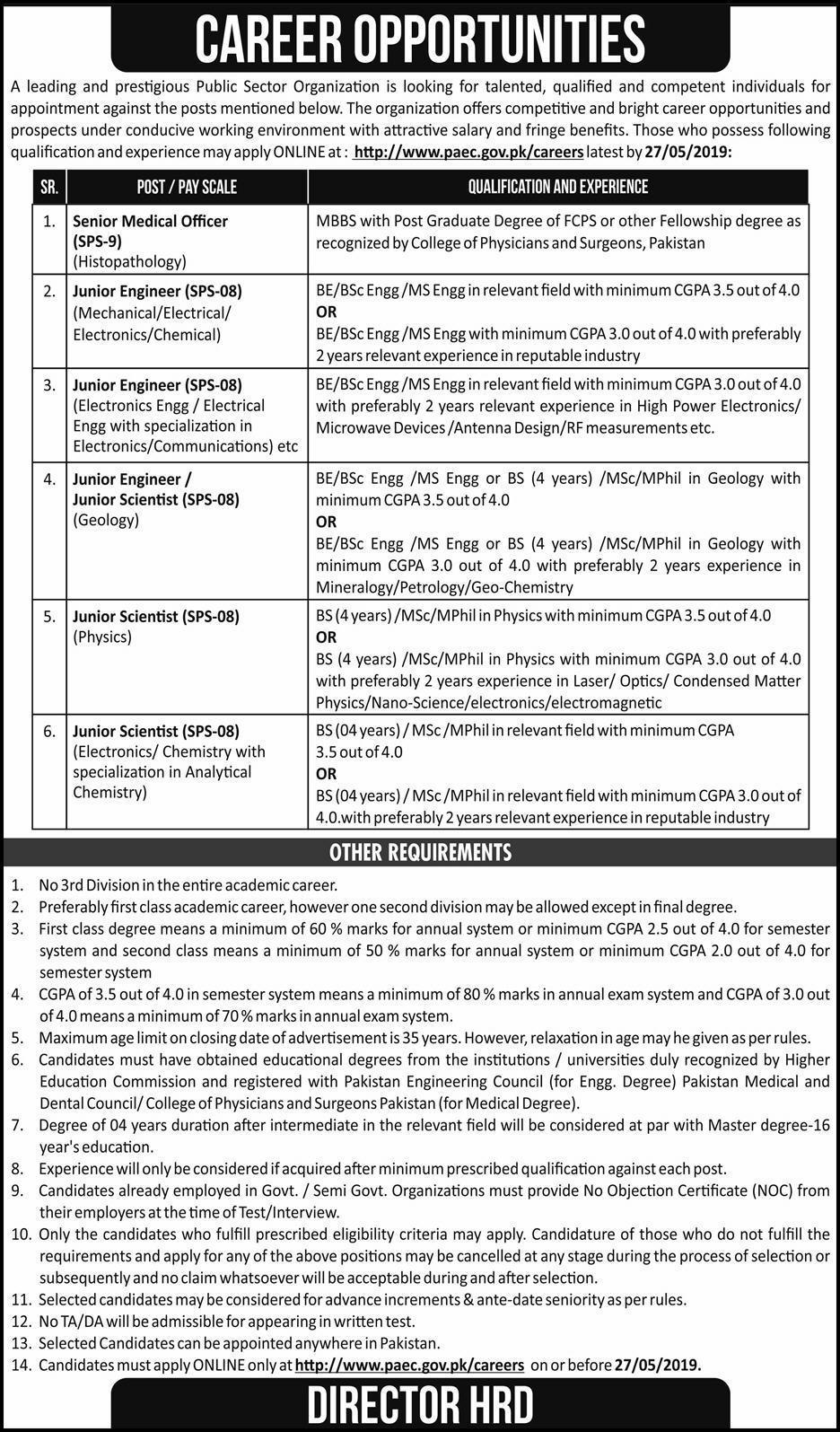 ➨ #Jobs - #Career_Opportunities - #Jobs - Atomic Energy Jobs PAEC 2019 Pakistan Atomic Energy Commission Last date to apply 27 May 2019