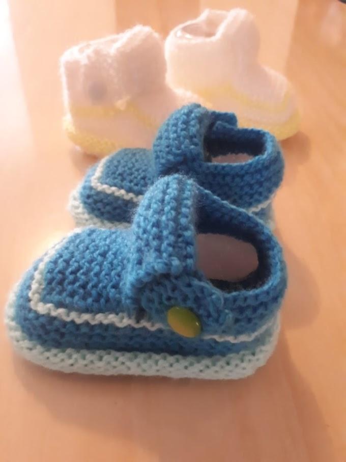 Sapatinho Em Tricô Para Bebês -Sandália Em Tricô