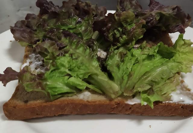 Lettuce over mayonnaise spread bread food recipe