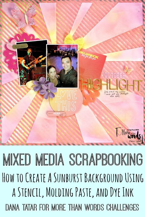 Sunburst Scrapbook Layout Using Sunset Colors