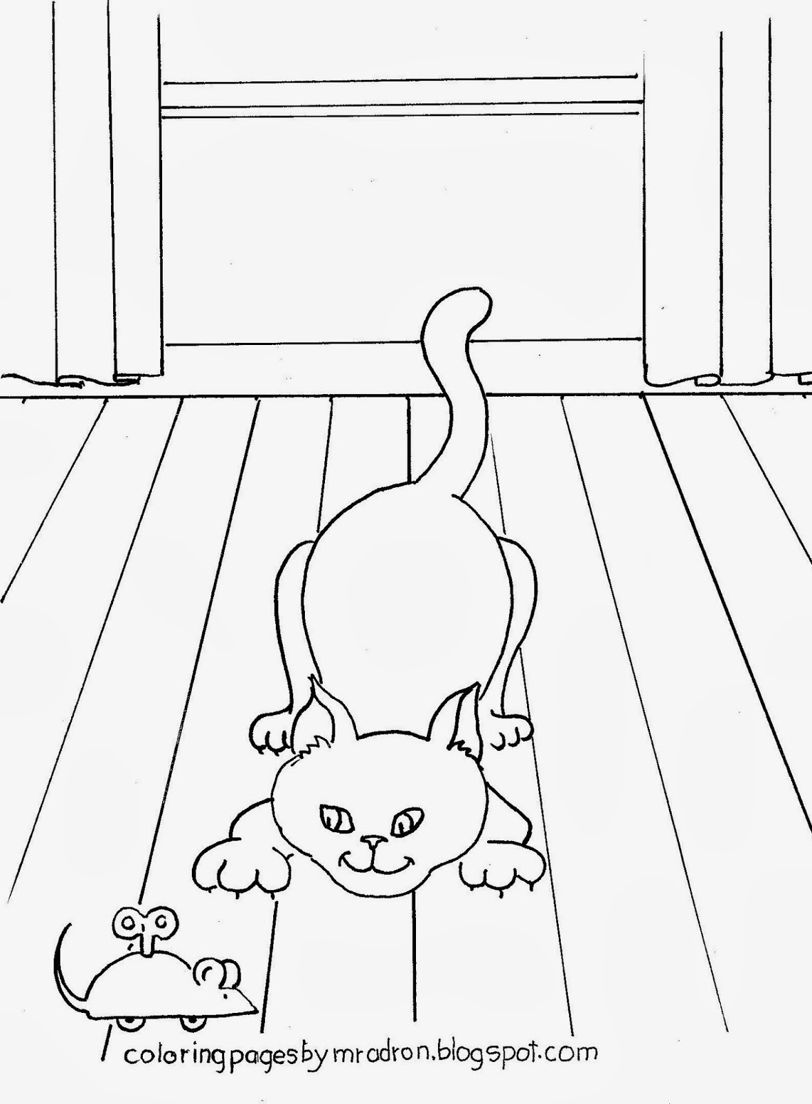 An illustration of a cat and a toy mouse to print and color