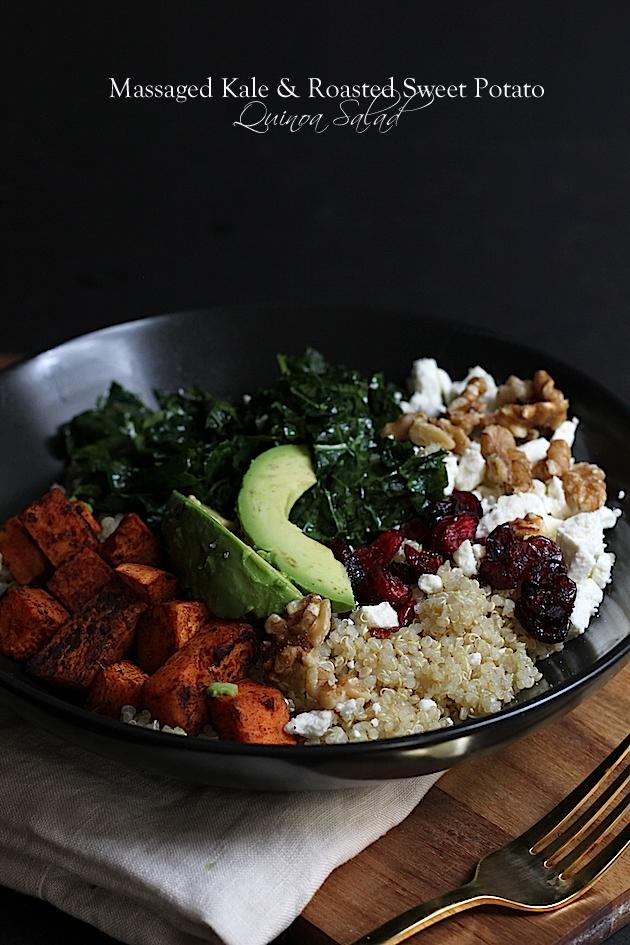 Massaged Kale & Roasted Sweet Potato Quinoa Salad via Savor Home