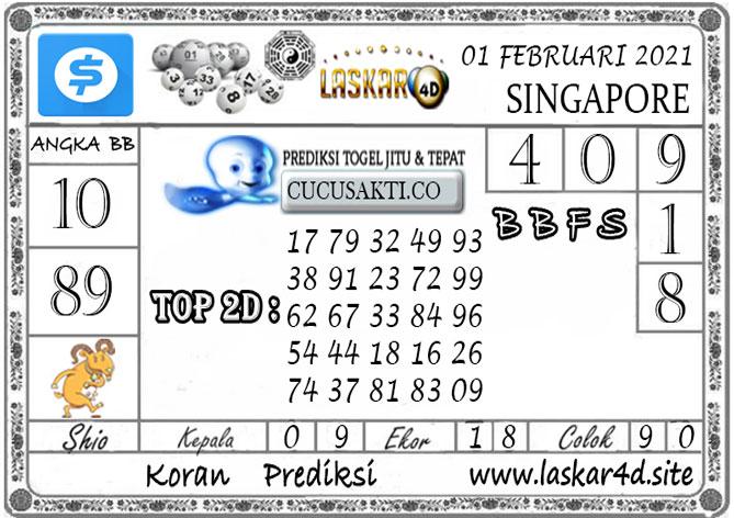 Prediksi Togel SINGAPORE LASKAR4D 01 FEBRUARI 2021