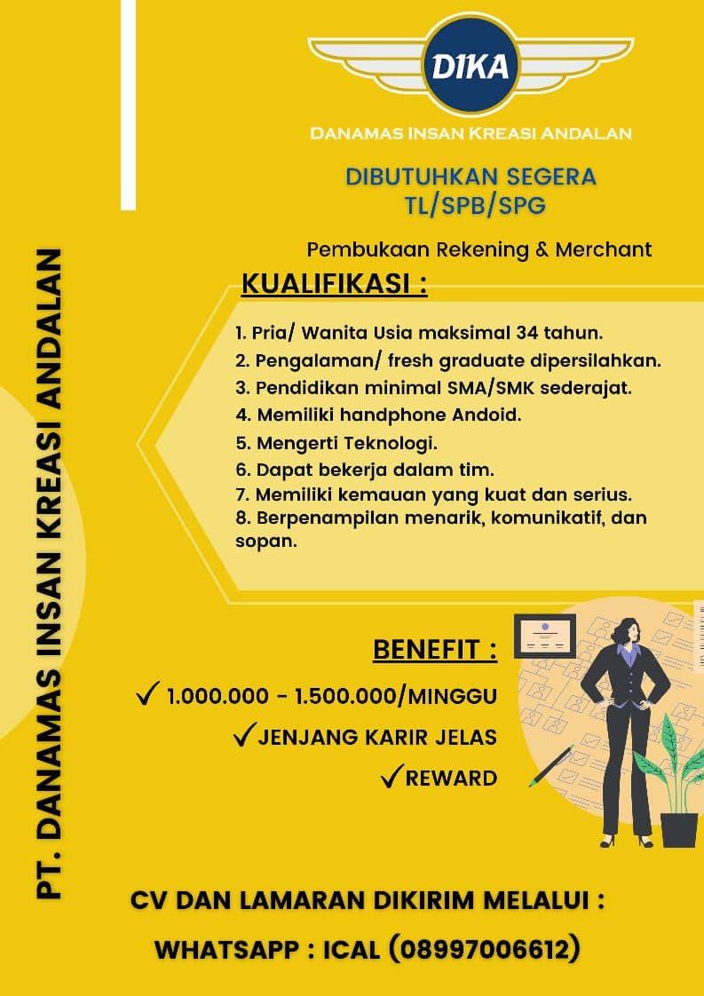 Lowongan Kerja PT. Danamas insan Kreasi Andalan Bandung Juli 2021