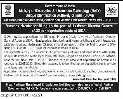 UIDAI Guwahati Recruitment 2020: Apply For 14 Posts