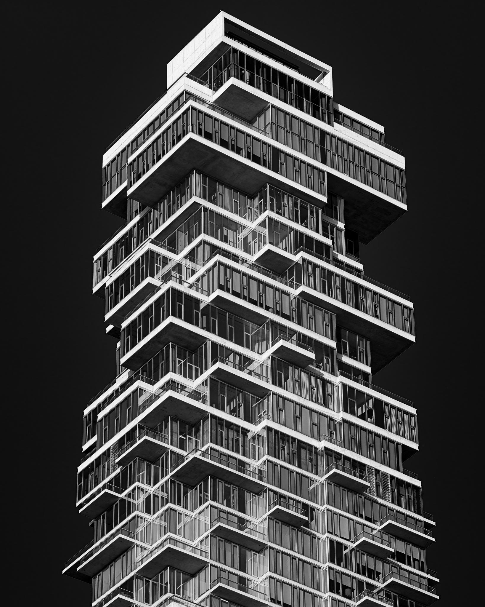a black and white photo of 56 leonard street in manhattan new york