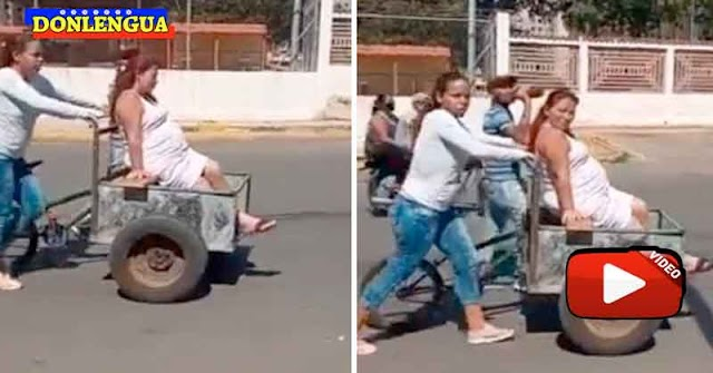 Por falta de gasolina trasladan a una mujer embarazada en una carreta para animales