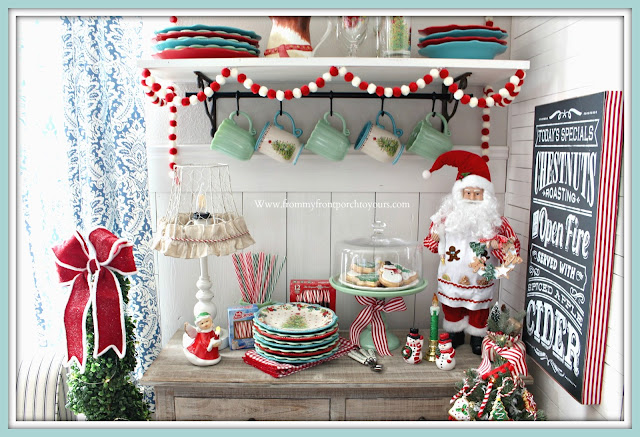 Breakfast -Nook -Christmas- Decor-Open-Shelving-Vintage-Cottage-Farmhouse-Jadeite-Pioneer Woman-From My Front Porch To Yours
