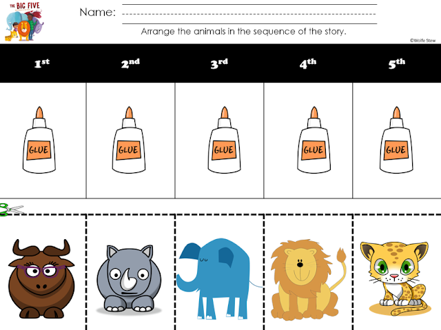 Cut and glue to sequence The Big Five animals in story order with your preschool, kindergarten and first grade learners.