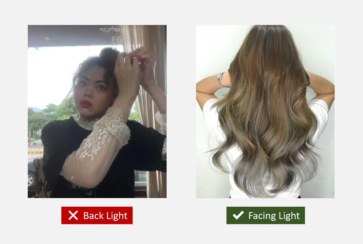 Salon Instagram photo: face light > back light
