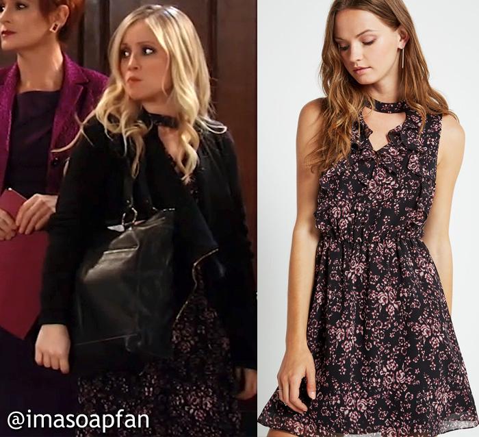 Lulu Spencer Falconeri, Emme Rylan, Black and Purple Floral Dress, GH, General Hospital