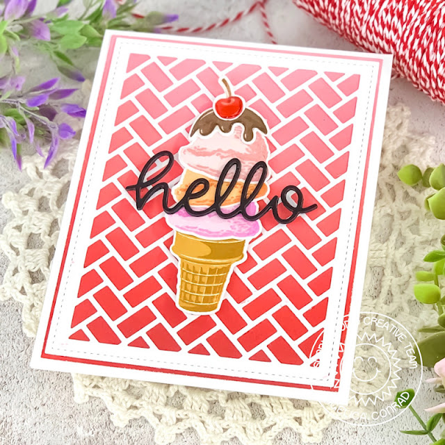 Sunny Studio Stamps: Frilly Frame Dies Two Scoops Hello Word Die Everyday Card by Angelica Conrad