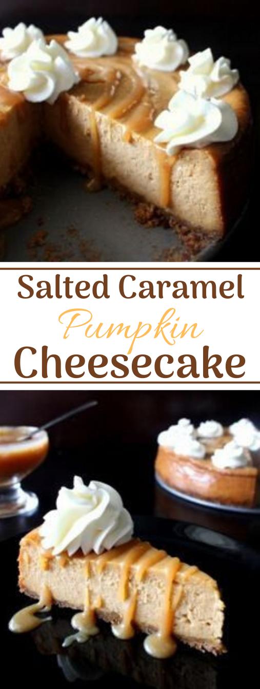 Salted Caramel Pumpkin Cheesecake #dessert #cakes #easy #pumpkin #caramel